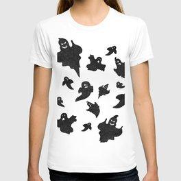 Halloween Ghosts on White Pattern T-shirt