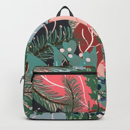 modern christmas abstract floral illustration pink blue green pattern Backpack