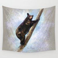 climbing Wall Tapestries featuring  Climbing Bear by Kevin Thomas
