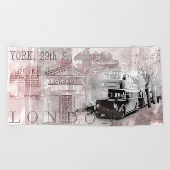 Vintage England London Britain Illustration Pastel Colors Beach Towel