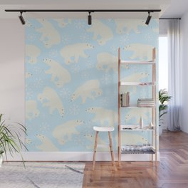 Polar Bear Snow Flake Pattern Wall Mural