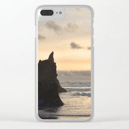 Arcadia Beach Sunset Lion Rock Oregon Coast Pacific Ocean Clear iPhone Case