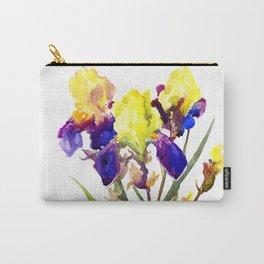 Garden Irises Floral Artwork Yellow Purple Blue Floral design Carry-All Pouch