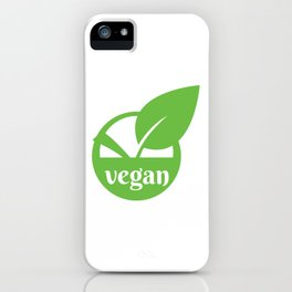 Vegan logo icon stamp seal leaf in circle iPhone Case