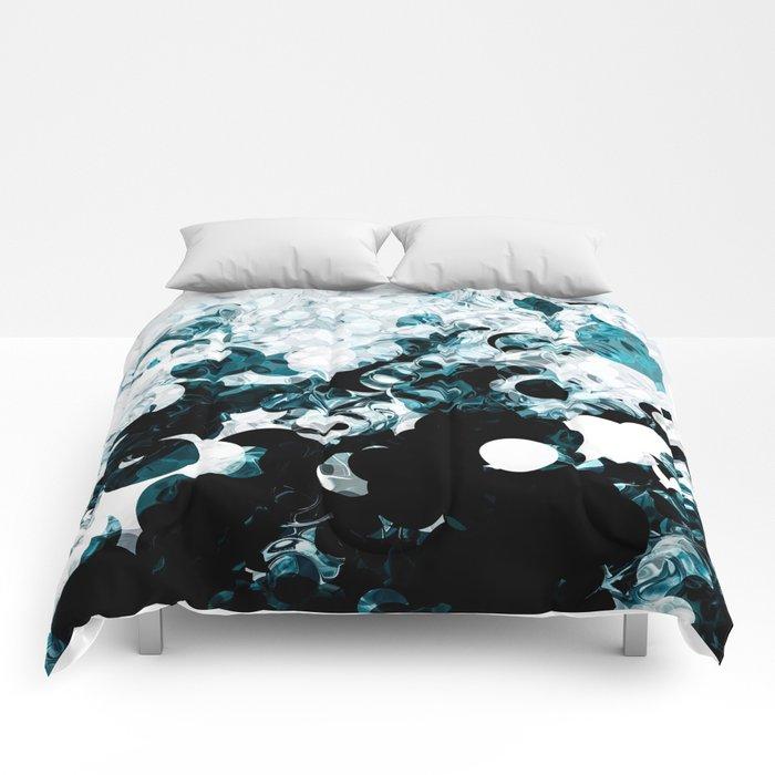 Modern Splash Of Turquoise Black White Design Comforters By