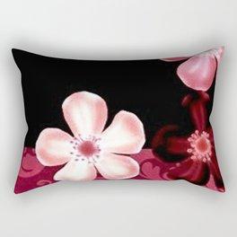 Retro 70s Flowers Pink Mauve Rectangular Pillow