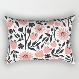 Floral Pattern Dark Gray and Light Coral Rectangular Pillow