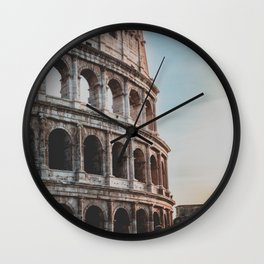 Italy Photography - The Colosseum In The Sunset Wall Clock