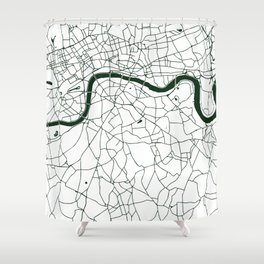 London White on Green Street Map Shower Curtain
