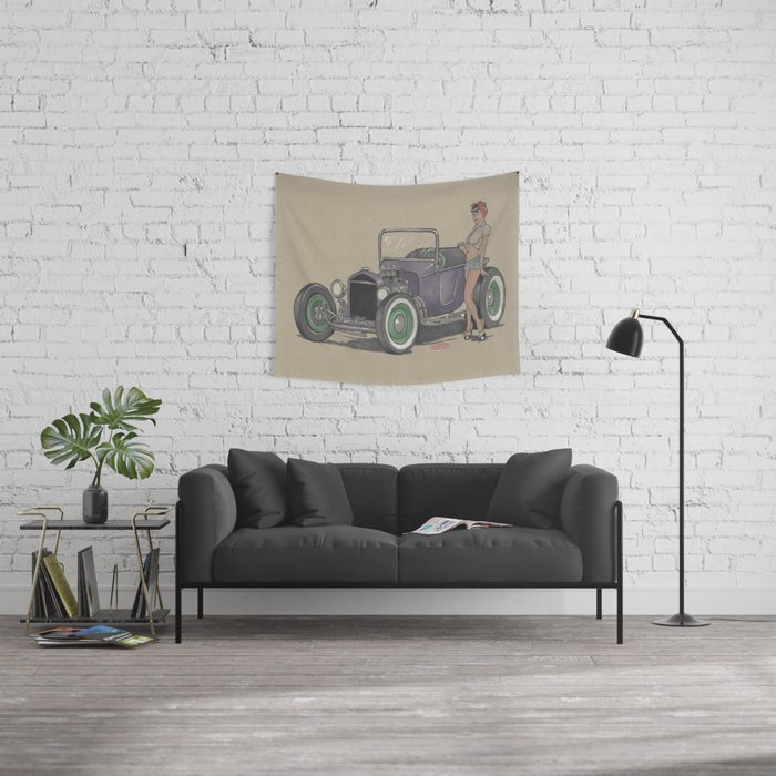 T-bucket Girl Wall Tapestry