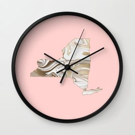Gold marble New York map Wall Clock