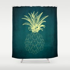 y-hello pineapple Shower Curtain