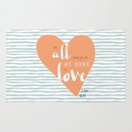 """All in Love"" Hand-Lettered Bible Verse Rug"