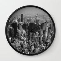 manhattan Wall Clocks featuring Manhattan by Chris W Parker
