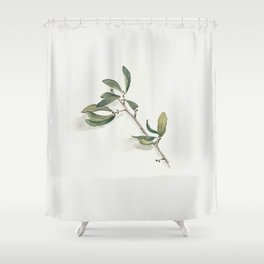 Olive Branch Watercolor Shower Curtain