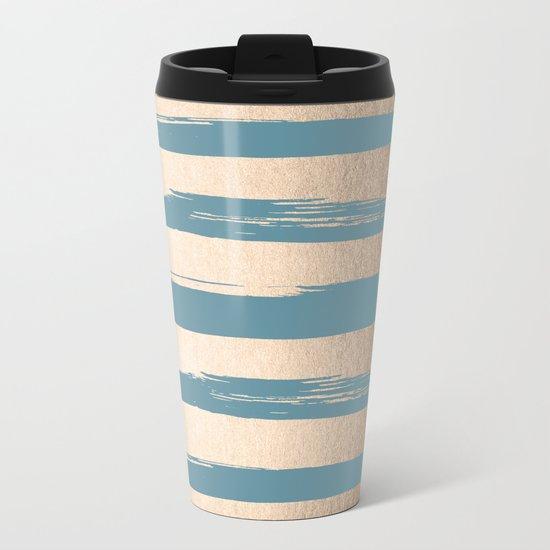 Painted Stripes Gold Tropical Ocean Blue Metal Travel Mug