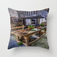 kitchen Throw Pillows featuring Olde Kitchen by Ian Mitchell