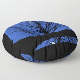 Moon with Tree, Cobalt Blue, Black and White Floor Pillow