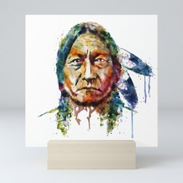 Sitting Bull watercolor painting Mini Art Print