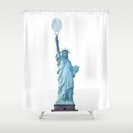 Statue of Liberty with Tennis Racquet Shower Curtain