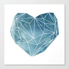 Heart Graphic Watercolor Blue Canvas Print
