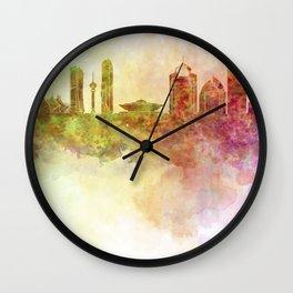 Riyadh skyline in watercolour background Wall Clock
