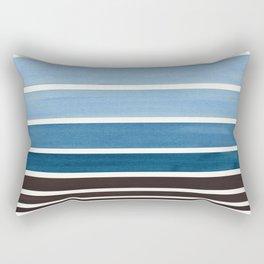 Green Blue Minimalist Watercolor Mid Century Staggered Stripes Rothko Color Block Geometric Art Rectangular Pillow