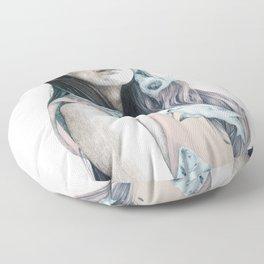 "Sharks inside, ""wild animals"" serie, illustration Floor Pillow"
