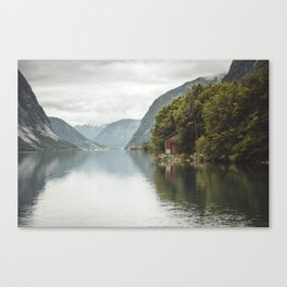 A cabin in the fjord Canvas Print