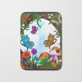 Spring Gardens Whimsical Folk Art Bath Mat