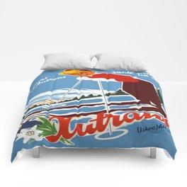 Vintage Autrans France Ski Travel Comforters