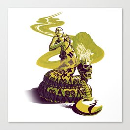 SnakeWoman and Demon-Skull Bong Canvas Print