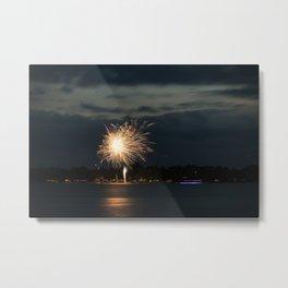 Fireworks Over Lake 34 Metal Print