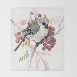 Cute Little Bird and Berries, Tufted Titmouse Throw Blanket