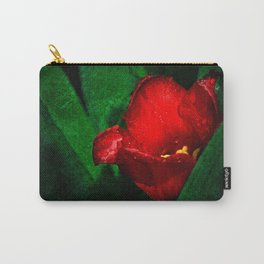 Red Tulip Green Leaves Carry-All Pouch
