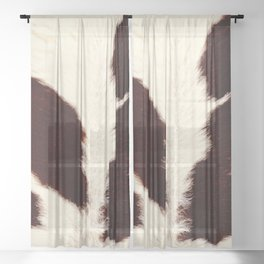 Tan cowhide, brown and white spots Sheer Curtain