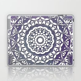 FLORAL WATERCOLOR VIOLET AND WHITE MANDALA  Laptop & iPad Skin