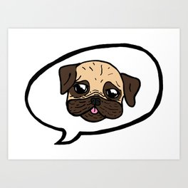 Pug Balloon Art Print