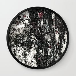 Black Web Dripping // Red Speckled Granite Stone Texture Wall Clock