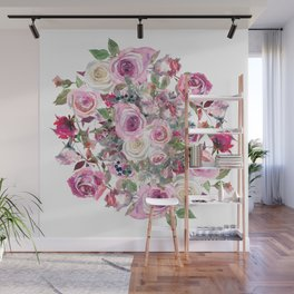 Bouquet of rose - wreath Wall Mural