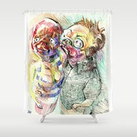 pugs Shower Curtains featuring Summer pugs by Stin