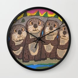 Otter Cuddle Party Wall Clock