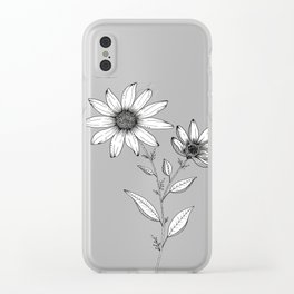 Wildflower line drawing | Botanical Art Clear iPhone Case