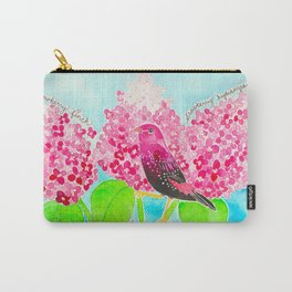 Strawberry Finch & Hydrangeas Carry-All Pouch