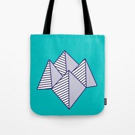 Paku Paku, navy lines on turquoise Tote Bag