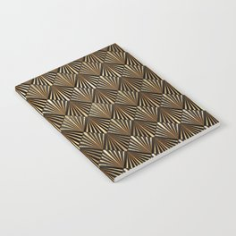 Facing Suns - Gold and Black - Classic Vintage Art Deco Pattern Notebook