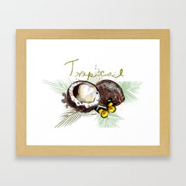 Tropical print with coconut Framed Art Print