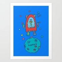 spaceman Art Prints featuring spaceman by PINT GRAPHICS