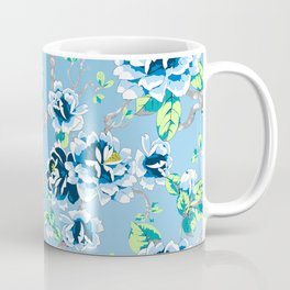 Chinoiserie Ming style Blue Floral Pattern Coffee Mug