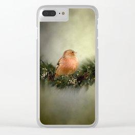 Little Bird in Christmas Wreath Clear iPhone Case